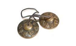 Tingsha mediano latón Mazira y símbolos de la suerte